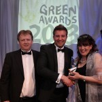 Conor O'Riain, Head of New Markets and Products, Ecocem presents the Ecocem Green Building Award to Michael Regan and Mary Regan from E-Project Chartered Architects Ltd.at Energy Awards 2013 in the Burlington Hotel
