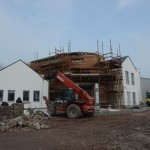 20th March – Cedar Cladding almost finished & stone wall nearly completed